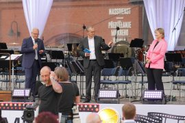 v. l. n.r.: Eröffnen den Abend - OBM Torsten Ruban-Zeh, Moderator Knut Elstermann, MDR-Intendantin Dr. Karola Wille